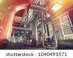 industrial steel pipelines ... | Shutterstock . vector #1040493571