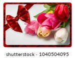 greeting card with red satin... | Shutterstock . vector #1040504095