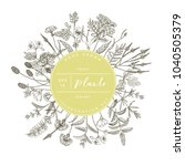 vector hand drawn floral round... | Shutterstock .eps vector #1040505379