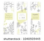 vector hand drawn floral cards... | Shutterstock .eps vector #1040505445