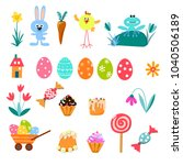 happy easter greeting card with ... | Shutterstock .eps vector #1040506189