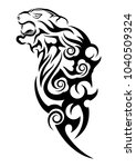 tiger in rage. black tribal... | Shutterstock .eps vector #1040509324