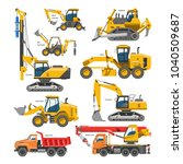 excavator for construction... | Shutterstock .eps vector #1040509687