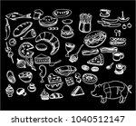the white line art of desserts... | Shutterstock .eps vector #1040512147