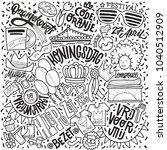 doodle illustration on the... | Shutterstock .eps vector #1040512909
