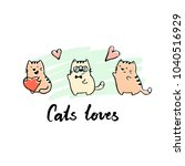 hand drawn funny cats... | Shutterstock .eps vector #1040516929