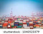 shanghai container port in... | Shutterstock . vector #1040523379