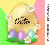 cute easter greeting card with... | Shutterstock . vector #1040528299