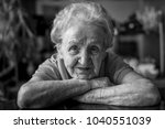 black and white portrait of an... | Shutterstock . vector #1040551039