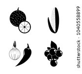 icon fruits and vegetables with ... | Shutterstock .eps vector #1040558899