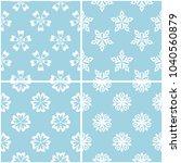 floral patterns. set of blue... | Shutterstock .eps vector #1040560879