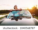 traveling by car   couplr in... | Shutterstock . vector #1040568787