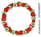 wreath or round frame with... | Shutterstock .eps vector #1040568859