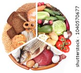 food pyramid or diet pyramid    ... | Shutterstock . vector #1040570677