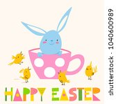 cute vector card with easter... | Shutterstock .eps vector #1040600989