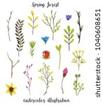 set with spring leaves and... | Shutterstock . vector #1040608651
