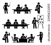 stick figure business meeting... | Shutterstock .eps vector #1040621005