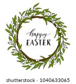 beautiful floral wreath with... | Shutterstock .eps vector #1040633065