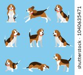 Stock vector creative collection with cute beagle dog vector illustrations with funny puppy in different 1040635471