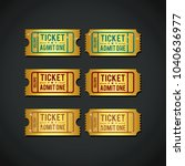 gold ticket coupon admit one... | Shutterstock .eps vector #1040636977