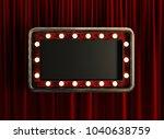 blank board with golden frame... | Shutterstock . vector #1040638759