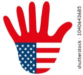 graphic usa hand as stop sign... | Shutterstock . vector #1040643685