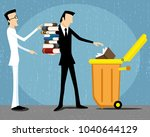 business man throws books into... | Shutterstock .eps vector #1040644129