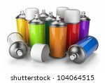 group of spray can. 3d icon... | Shutterstock . vector #104064515