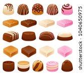 chocolate candies set. assorted ... | Shutterstock .eps vector #1040650975