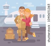 soldier coming home from... | Shutterstock .eps vector #1040651365