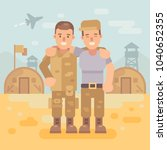 two happy soldier friends in a...   Shutterstock .eps vector #1040652355