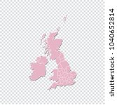 uk counties map   high detailed ... | Shutterstock .eps vector #1040652814