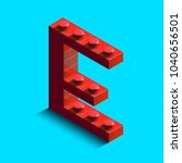 realistic red 3d isometric... | Shutterstock .eps vector #1040656501