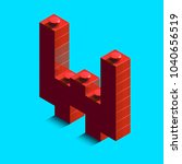 realistic red 3d isometric... | Shutterstock .eps vector #1040656519