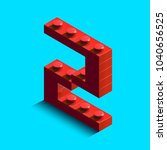 realistic red 3d isometric... | Shutterstock .eps vector #1040656525