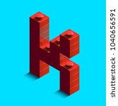 realistic red 3d isometric... | Shutterstock .eps vector #1040656591