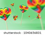 colorful hard candy lollipop on ... | Shutterstock . vector #1040656831