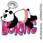 little sweet panda  bored panda ... | Shutterstock .eps vector #1040663761