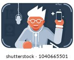 video blogger with smartphone....   Shutterstock .eps vector #1040665501