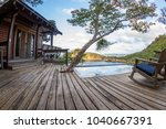 relaxing scene with a calm pool ... | Shutterstock . vector #1040667391