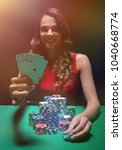 beautiful woman with casino... | Shutterstock . vector #1040668774