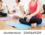young woman in yoga class... | Shutterstock . vector #1040669209