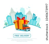 free delivery concept. delivery ... | Shutterstock .eps vector #1040673997