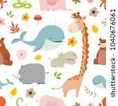 really cute cartoon wild... | Shutterstock .eps vector #1040676061