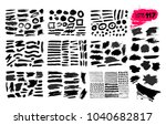 big collection of black paint ... | Shutterstock .eps vector #1040682817