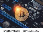 cryptocurrency golden bitcoin... | Shutterstock . vector #1040683657