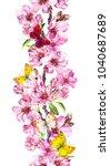 apple or cherry pink flowers... | Shutterstock . vector #1040687689