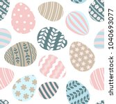 happy easter seamless pattern... | Shutterstock .eps vector #1040693077
