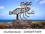 Small photo of JAMEOS DEL AGUA, LANZAROTE, SPAIN - July 23, 2017: Jameos del Agua - symbolic sculpture albino crayfish designed by Cesar Manrique, emblem of Jameos del Agua, Lanzarote, Canary Island, Spain.