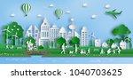 paper art style of landscape... | Shutterstock .eps vector #1040703625